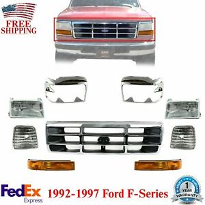 Front Chrome Grille headlight signal head Lamps Door For 1992 1997 Ford F series