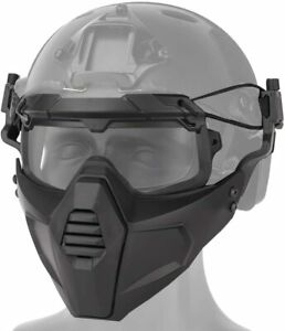 Airsoft Tactical Paintball Protective Combat Helmet Face Mask W Visor Goggles $30.32
