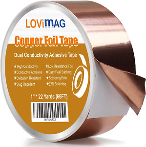 Copper Foil Tape 1inch X 66 Ft With Conductive Adhesive For Guitar And Emi Shi