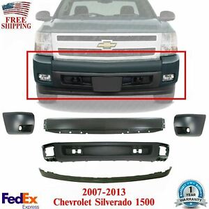 Front Bumper Primed Cover Valance End Cap Kit For 2007 2013 Chevy Silverado 1500