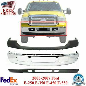 Front Bumper Chrome Upper Lower For 2005 2007 Ford F 250 F 350 Super Duty