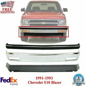 Front Chrome Bumper Strip Molding Valance For 91 93 Chevy S10 Pickup Blazer