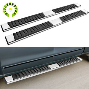 For 07 19 Silverado Sierra Double Cab 6 Running Boards Nerf Bars Side Steps 2pc