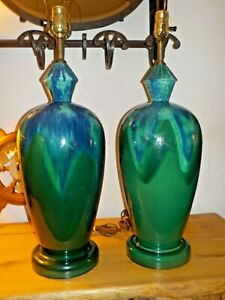 Rare Pair Mid Century Modern Blue Green Tall Drip Glaze Table Lamps Royal Haeger