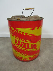 Vintage Round Metal Stancan 5 Gallon Gas Can Gasoline Retro