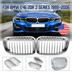 Pair Front Hood Kidney Grille Grill For Bmw E46 325ci 330ci 328ci 2door Chrome