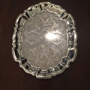 Vintage Style Silver Plated Serving Tray Made In Hong Kong