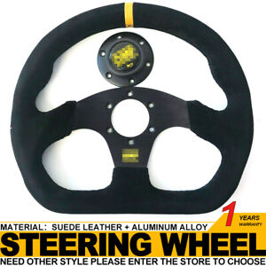 320mm D Dish Suede Leather Yellow Strip Universal Racing Sport Steering Wheel