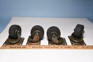 4x Large Vintage Bassick Swivel Plate Casters Rubber Wheels