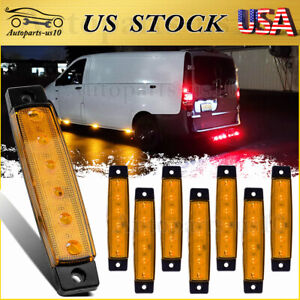 8x 3 8 Truck Marker Clearence Lights Amber 6 Led For Trailer Rv Boat Waterproof