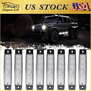 8x 3 8 Truck Marker Clearance Lights White 6 Led For Trailer Rv Boat Waterproof