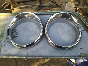1955 Oldsmobile Headlight Bezel Pair Door 1956 88 Custom Rocket 98 Trim Ring