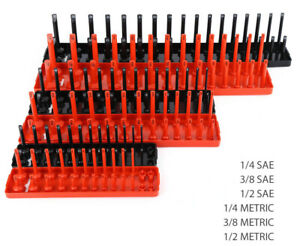 6pcs Abs Socket Organizer Holder Storage Tray Rack Sae Metric 1 4 3 8 1 2 Set