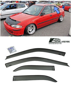 For 92 95 Honda Civic Sedan Jdm Smoke Tinted Side Window Visors Deflectors