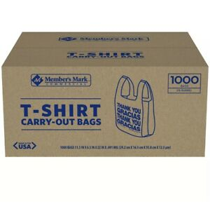 1000 Ct T Shirt Bags Plastic Grocery Shopping Carry Out Thank You free Fast Ship