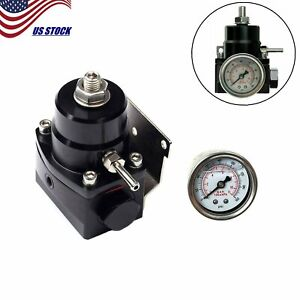 An6 Adjustable Injected Bypass Fuel Pressure Regulator Black white Gauge Kit New