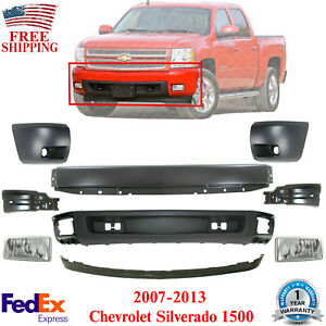 Front Bumper Primed Cover Valance Kit Fogs For 07 13 Chevy Silverado 1500