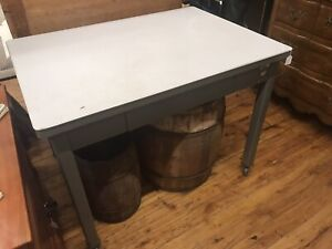 Vintage Haskell Metal Desk Table With Wheels