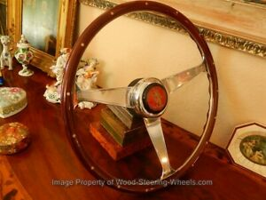 Steering Wheel For Porsche 356 A Wood Nardi St christopher Vintage Horn Button