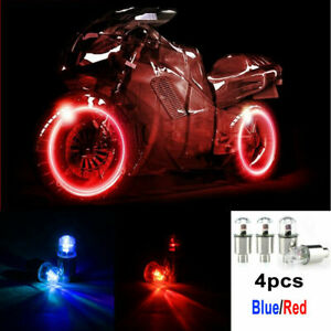 4 X Car Auto Wheel Tire Tyre Air Valve Stem Led Light Caps Cover Accessories
