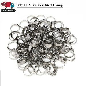 100x 3 4 Inch Pex Stainless Steel Clamp Cinch Rings Crimp Pinch Fitting
