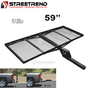 59 Black Steel Foldable Trailer Tow Hitch Cargo Carrier Tray For 2 Receiver Sh