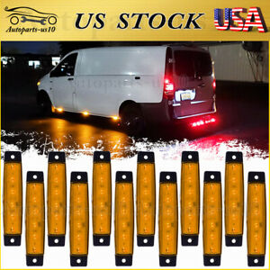12x 3 8 Trailer Marker Clearence Lights Amber Led Surface Mount For Rv Truck