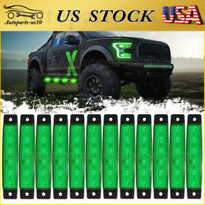 12x 3 8 Trailer Marker Clearence Lights Green Led Surface Mount For Rv Truck
