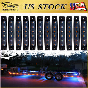 12x 3 8 Trailer Marker Clearence Lights Truck Smoked Amber Led Surface Mount