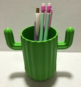4 Cactus Plastic Pen Pencil Holder Party Cup Green Cute Office Teacher Gift New