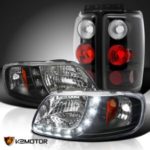 Fits 1997 2002 Ford Expedition Black Smd Led Clear Headlights tail Brake Lamps
