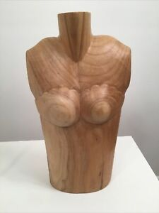 Wooden Mannequin Neck Bust Doll Stand Necklace Display Carved Jewelry Holder