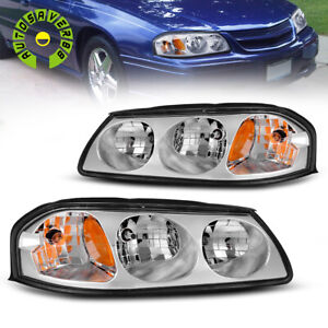 For 2000 2005 Chevy Impala Chrome Headlights Assembly Clear Amber Left right
