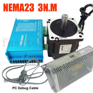 428oz in Closed loop Stepper Motor Nema23 3nm Dsp Drive Power Supply Rs232 Cable