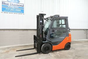 2014 Toyota 8fgu18 3 500 Pneumatic Tire Forklift Lpg Fuel 3 Stage S s Lps