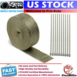 2 50f Roll Titanium Basalt Manifold Header Exhaust Pipe Heat Wrap Tape 10 Ties