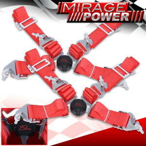 Pair Of 4 Point Camlock Nylon Racing Safety Seat Belts Red For Scion Tc Frs Xb