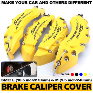 Universal 4x Yellow Brake Caliper Covers Sport Style Disc Car Front Rear Kit L M