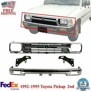 Front Bumper Chrome Grille Bracket Kit For 1992 95 Toyota Pickup Truck 2wd
