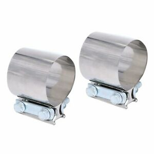 2x 2 5 2 1 2 Universal T304 Stainless Steel Butt Joint Band Exhaust Clamps