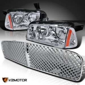 For 2006 2010 Dodge Charger Clear Headlights Corner Lamps Mesh Hood Grille