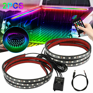 2x 60 Rgb Led Truck Cargo Bed Light Strip Kit Fit For Chevy Ford Dodge Gmc Boat
