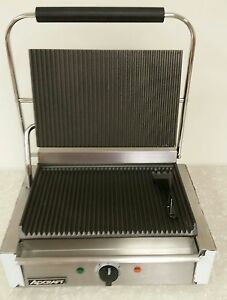 Adcraft Stainless Grooved Plate Panini Cuban Sandwhich Grill Single Sg 811eb