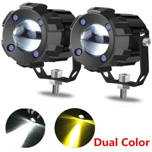 1 8in White yellow Dual Color 60w Mini Led Projector Lens Driving Fog Light Kit