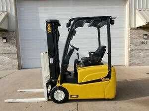 2014 Yale Erp030 Lift Truck 3k 3 Wheel Electric Pneumatic Forklift Lifttruck