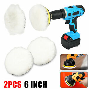 2pcs 6 Inch Car Auto Wool Bonnet Buffing Wheel Pad Buffer Polishing Polisher Pad