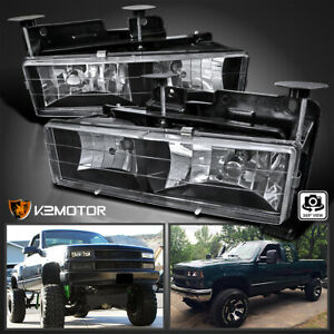 For 1988 1998 Chevy Gmc C10 C K Truck Black Headlights Lamps Replacement Pair
