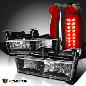 For 1988 1998 Chevy Gmc C K C10 Truck Black Headlights Red Clear Led Tail Lamps