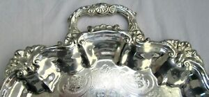 Antique Vintage 16 25 X 22 Footed Scalloped Silver Plated Butler Service Tray