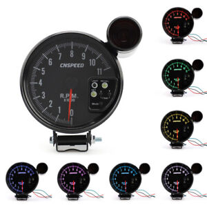 5 Jdm Sport 7 Color 11k Rpm Tachometer Led Gauge Shift Light Black Fit For4 6 8